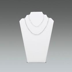 Présentoir collier imitation cuir blanc