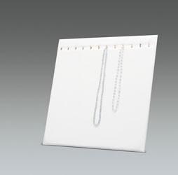 Présentoir colliers blanc imitation cuir